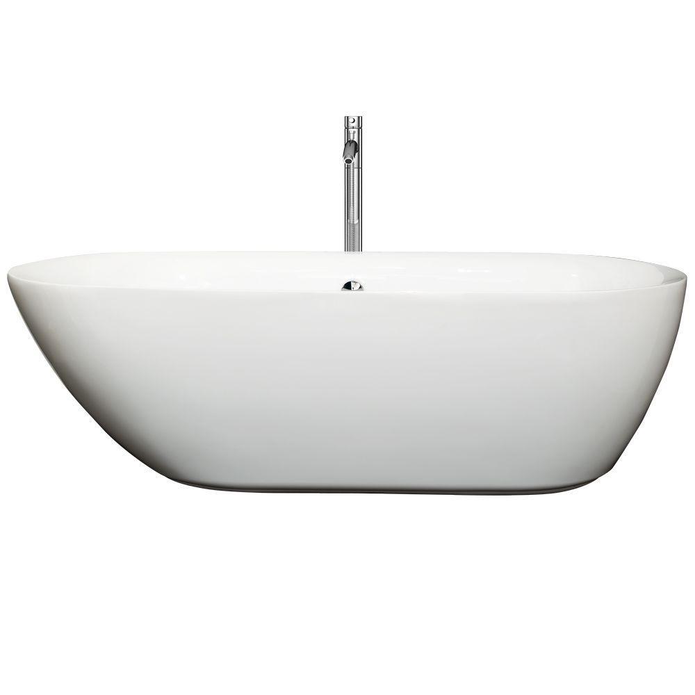 Melissa 70.75 in. Acrylic Flatbottom Center Drain Soaking Tub in White