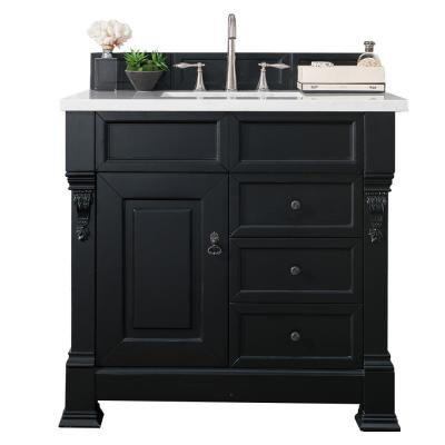 Brookfield 36 in. W Single Bath Vanity in Antique Black with Solid Surface Vanity Top in Arctic Fall with White Basin