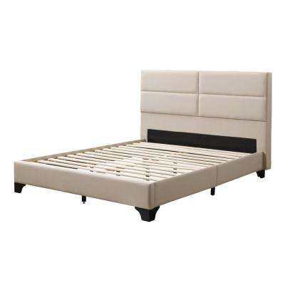Bellevue Cream Fabric Double/Full Wide-Rectangle Panel Upholstered Bed