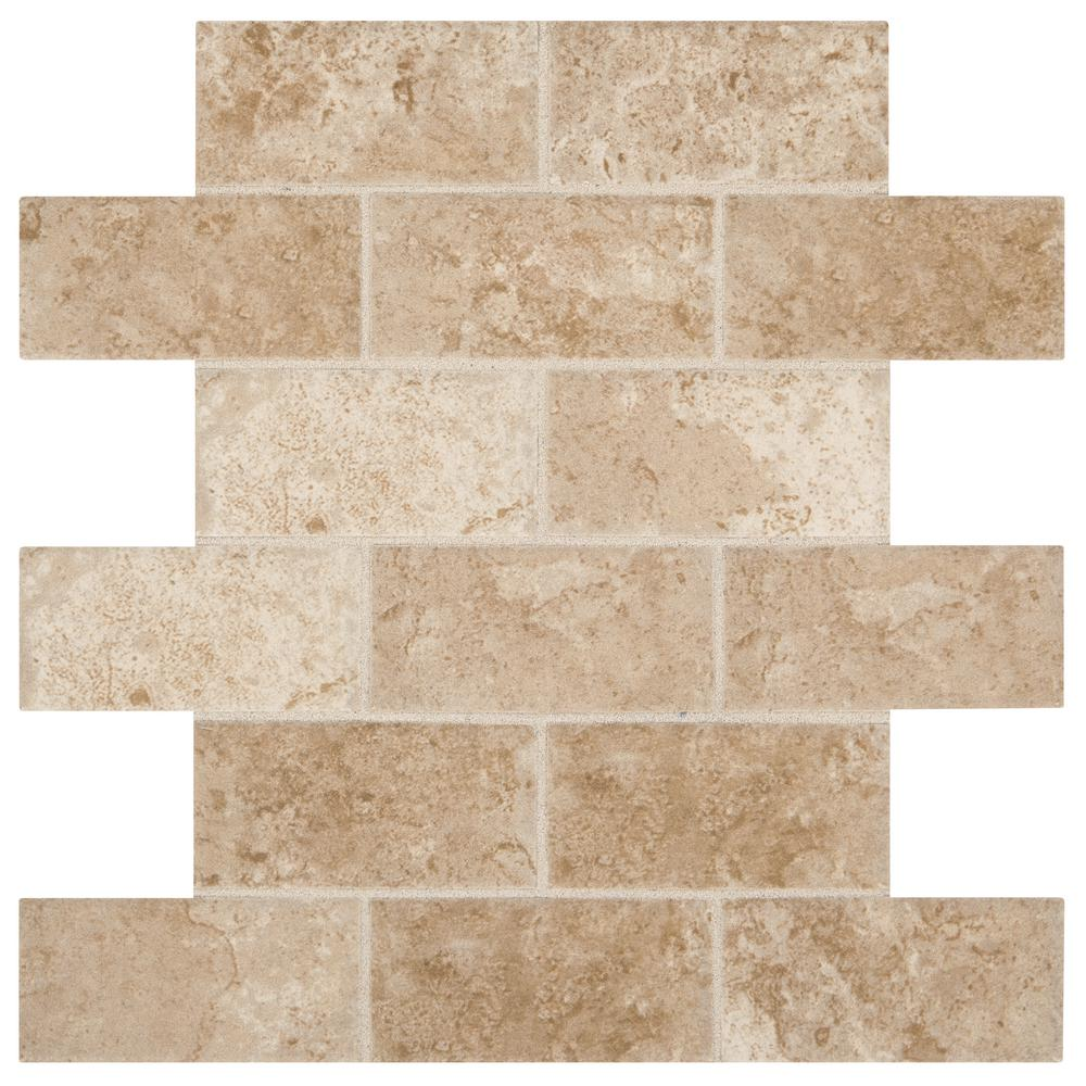 Marazzi Montagna Cortina Avorio 12 in. x 12 in. x 6.35 mm Ceramic Brick Joint Mosaic Wall Tile (0.83 sq. ft. / piece)