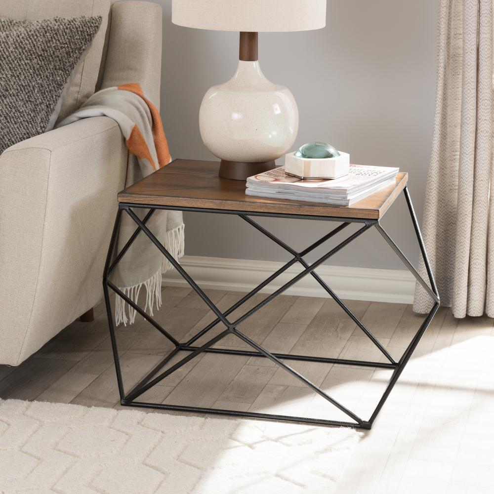 Stilo Vintage Industrial Medium Brown Wood Finished End Table