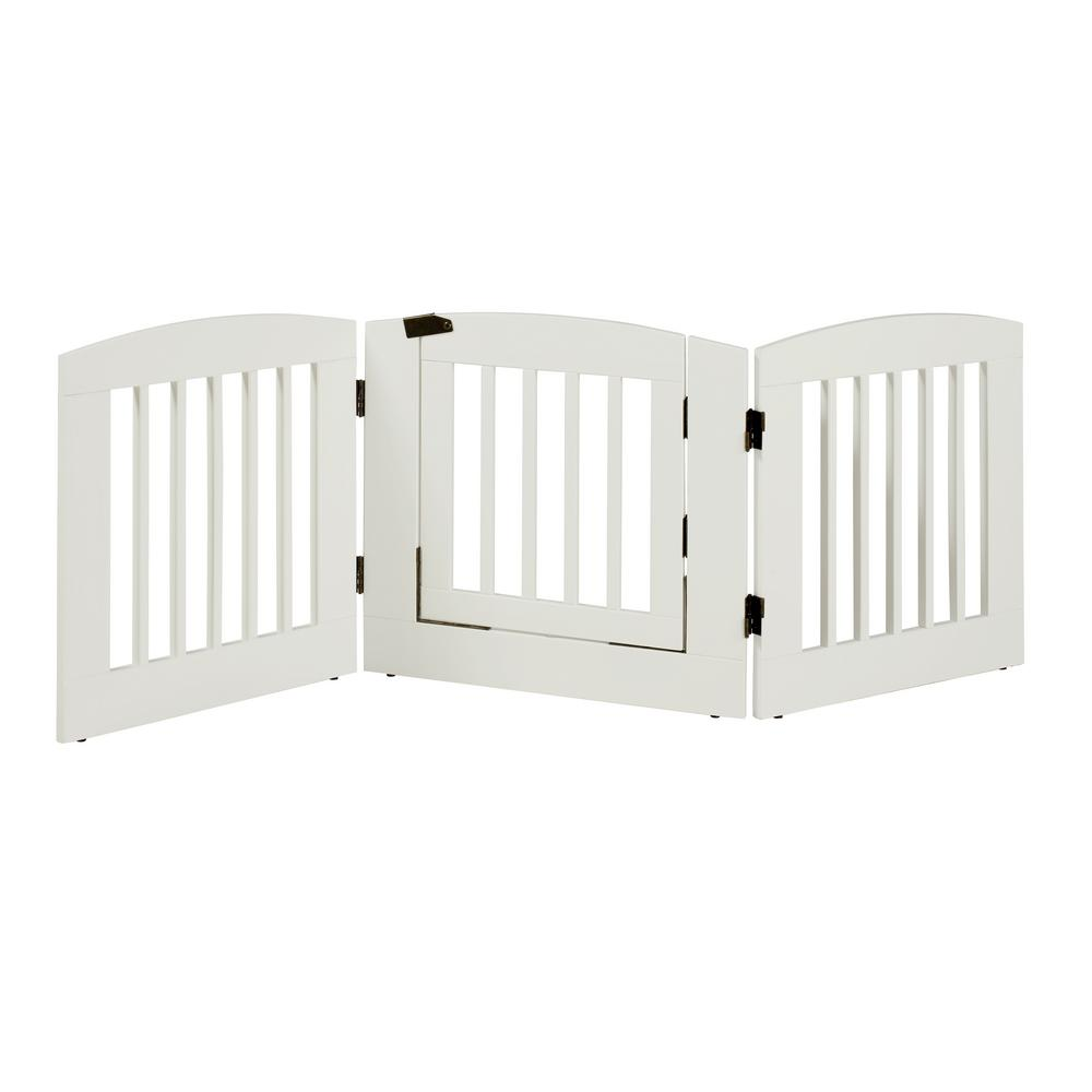 H Wood 3 Panel Expansion White Pet Gate With Door