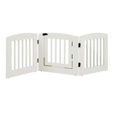 Ruffluv 24 in. H Wood 3-Panel Expansion White Pet Gate with Door