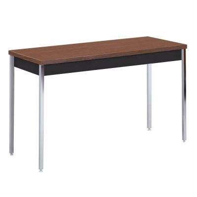 60 in. W x 30 in. D x 24-36 in. H Heavy Duty Steel Meeting/Activity Table in Black/Walnut