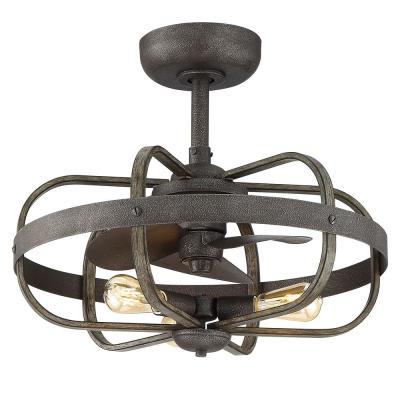Keowee 23 in. Indoor/Outdoor Artisan Iron Dual Mount Ceiling Fan with Light Kit and Remote Control
