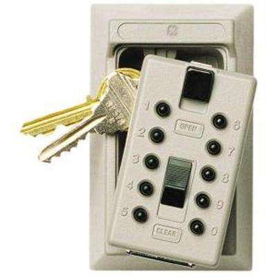 Mounted 5-Key Box with Pushbutton Combination Lock, ​Clay