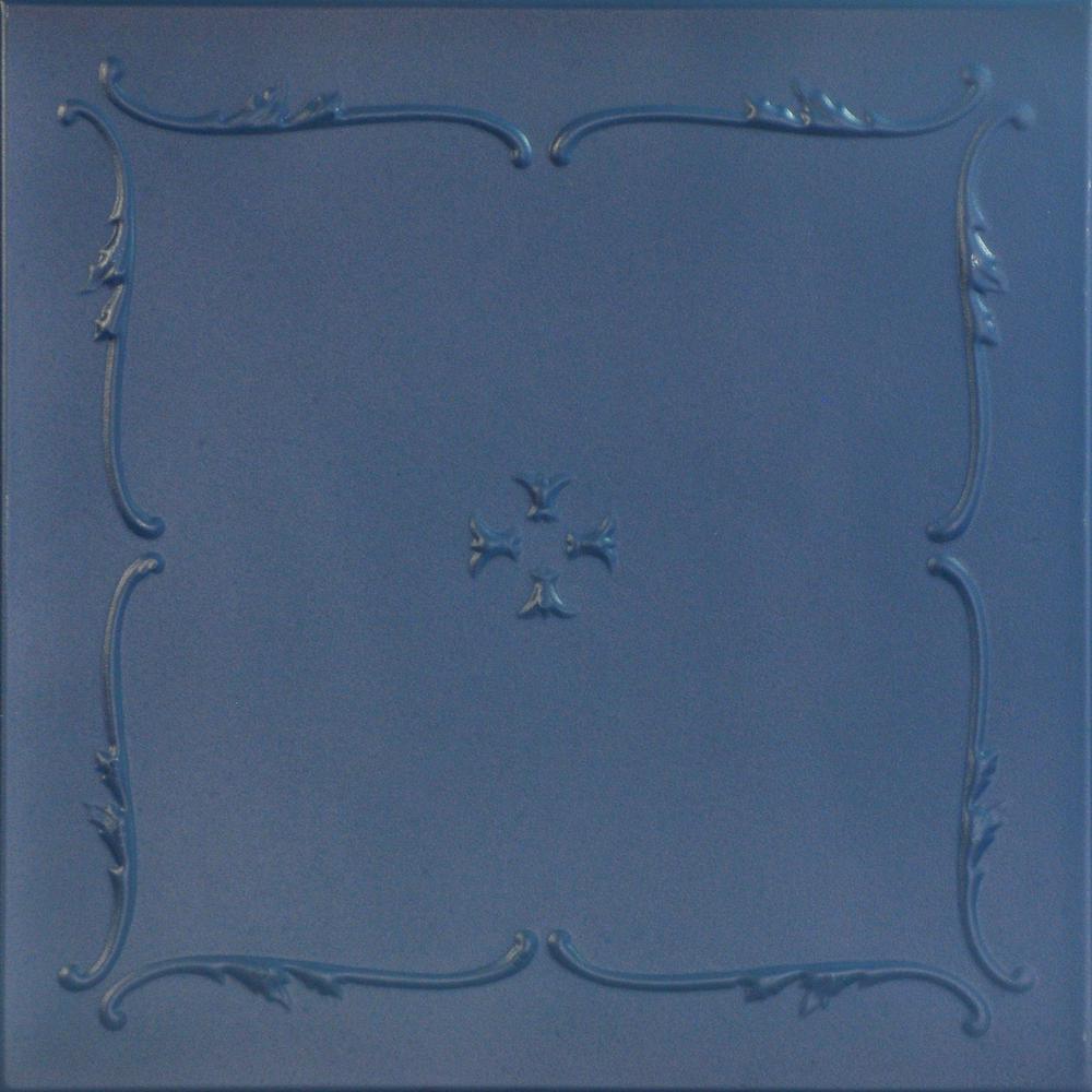 Spring Buds 1.6 ft. x 1.6 ft. Foam Glue-up Ceiling Tile in Van Deusen Blue