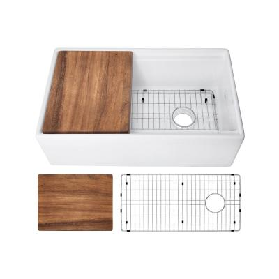 Fireclay 30 in. Single Bowl Farmhouse Apron Front Reversible Kitchen Sink in White with Cutting Board and Grid