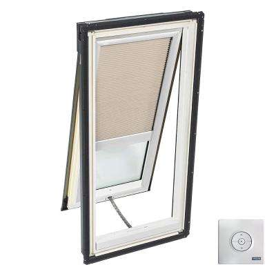 21 in. x 54.44 in. Venting Deck-Mount Skylight, Laminated LowE3 Glass, Classic Sand Solar Powered Light Filtering Blind