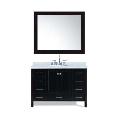 Cambridge 49 in. Bath Vanity in Espresso with Marble Vanity Top in Carrara White with White Basin and Mirror
