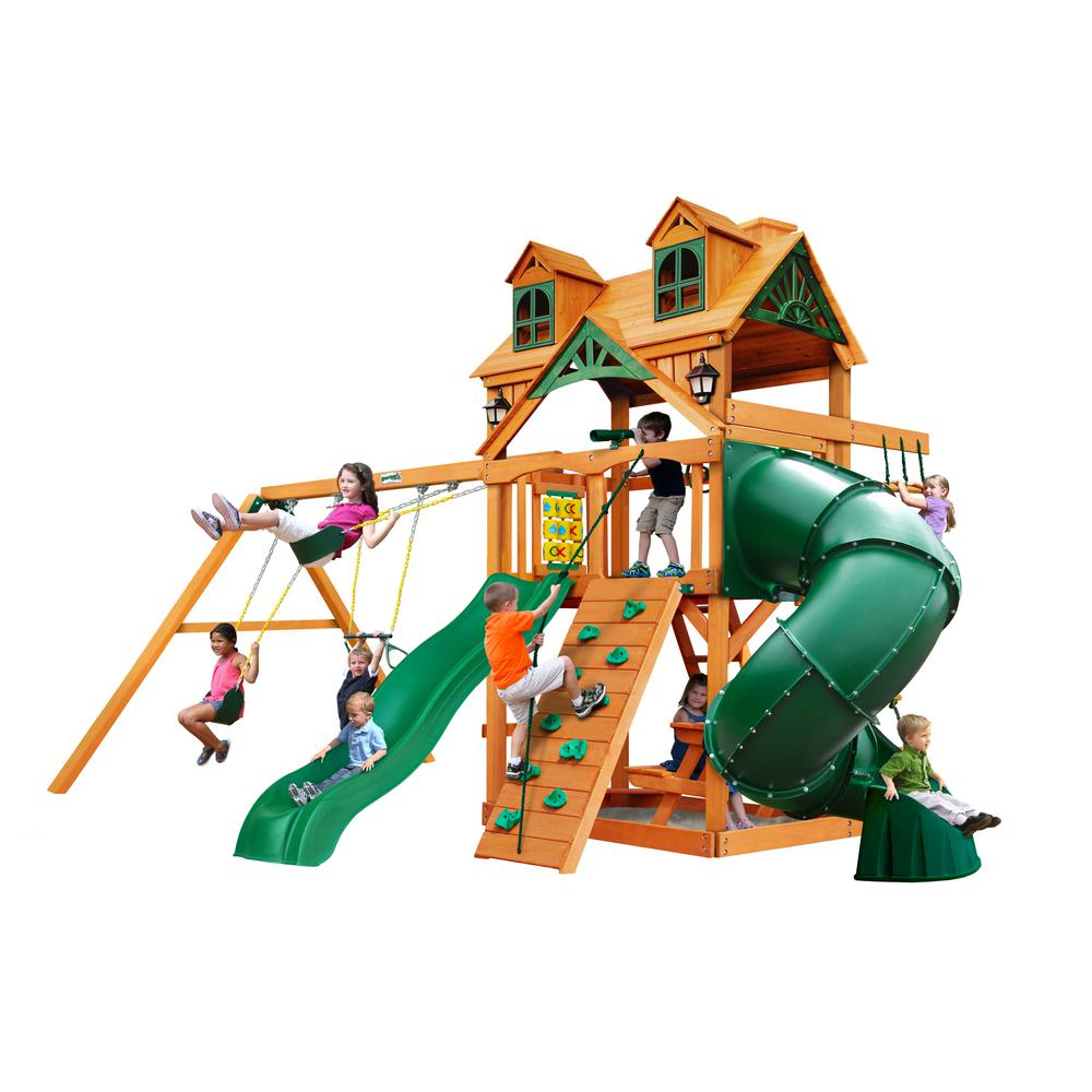 Gorilla Playsets Mountaineer Wooden Playset with Malibu Wood Roof and Tube Slide