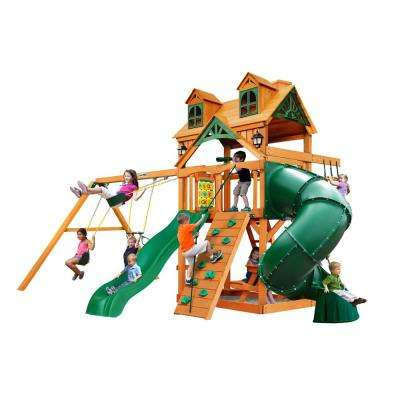 Mountaineer Wooden Swing Set with Malibu Wood Roof and Tube Slide