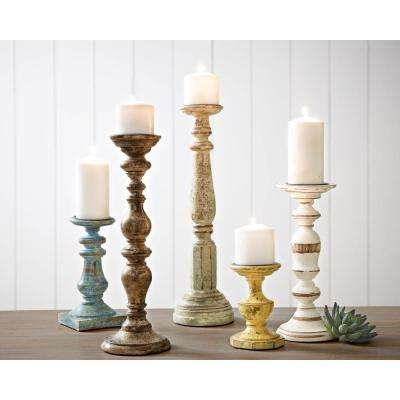 Trans cain distressed wood candle holders set of 5
