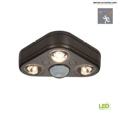 Revolve 270-Degree Bronze Triple Head Motion Activated Outdoor Integrated LED Security Flood Light at 5000K Daylight