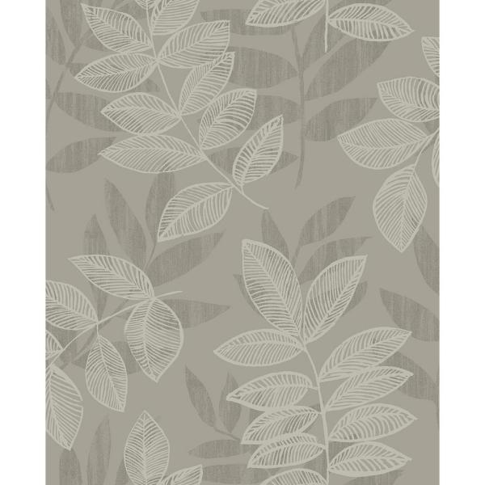 A-Street 8 in. x 10 in. Chimera Platinum Flocked Leaf Wallpaper