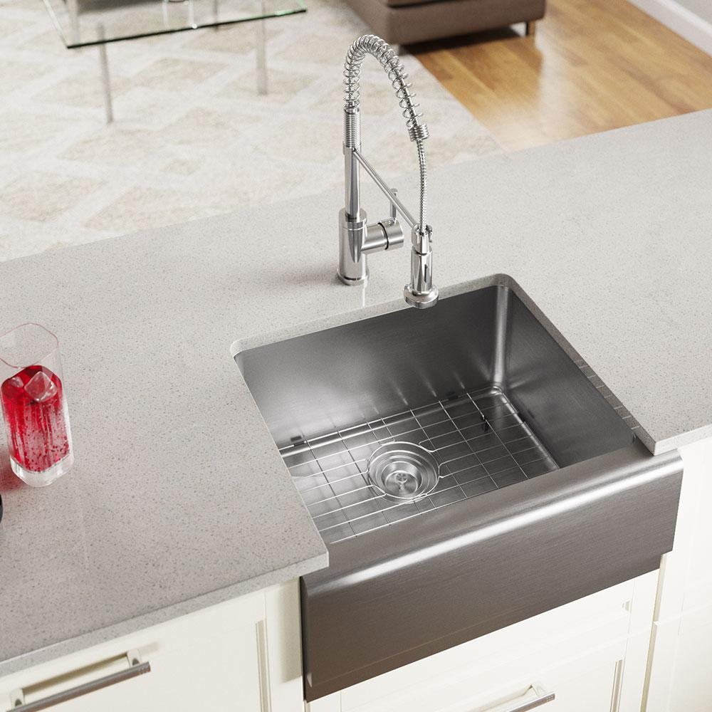 Mr Direct Farmhouse Apron Front Stainless Steel 23 3 4 In Single Bowl Kitchen Sink 408 The Home Depot