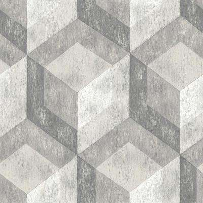 Grey Bauhaus Weathered Wood Peel and Stick Wallpaper