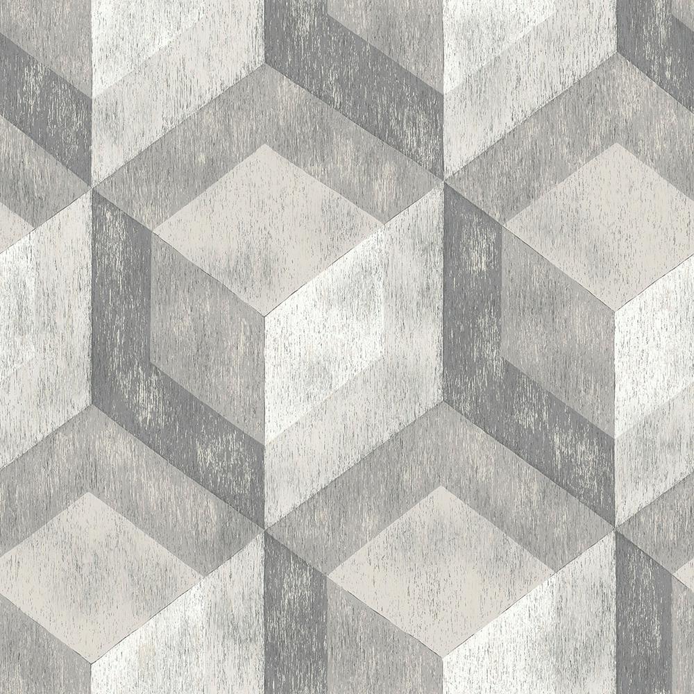 30.75 sq. ft. Bauhaus Weathered Wood Peel and Stick Wallpaper