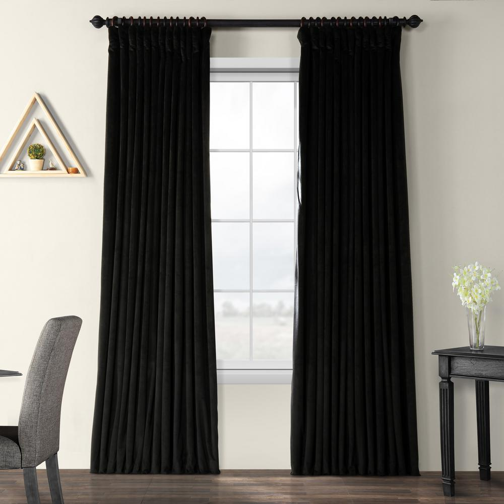 Exclusive Fabrics & Furnishings Blackout Signature Black Doublewide Blackout Velvet Curtain - 100 in. W x 84 in. L (1 Panel)