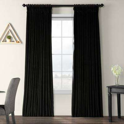Blackout Signature Black Doublewide Blackout Velvet Curtain - 100 in. W x 84 in. L (1 Panel)