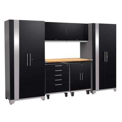 Performance Plus 2.0 80 in. H x 133 in. W x 24 in. D Steel Garage Cabinet Set in Black (7-Piece) with Bamboo Worktop