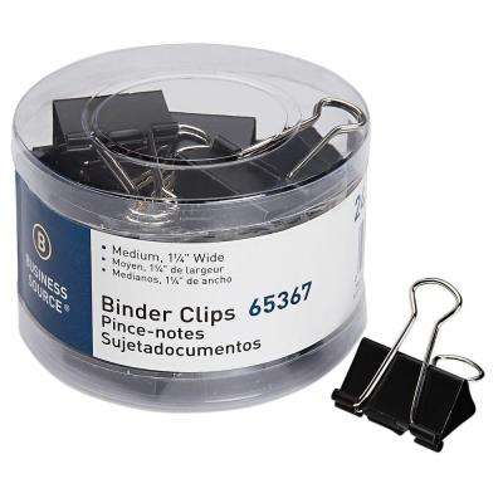 Medium Steel Zinc Binder Clips, Black (24-Pack)