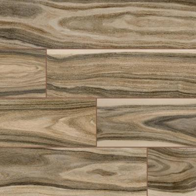 Dellano Deep Bark 8 in. x 48 in. Polished Porcelain Floor and Wall Tile (10.68 sq. ft./Case)