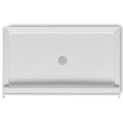 A2 60 in. x 34 in. Single Threshold Center Drain Shower Pan in White