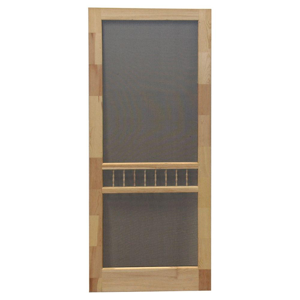 Screen Tight 32 in. x 80 in. Arbor Wood Unfinished Reversible Hinged Screen Door