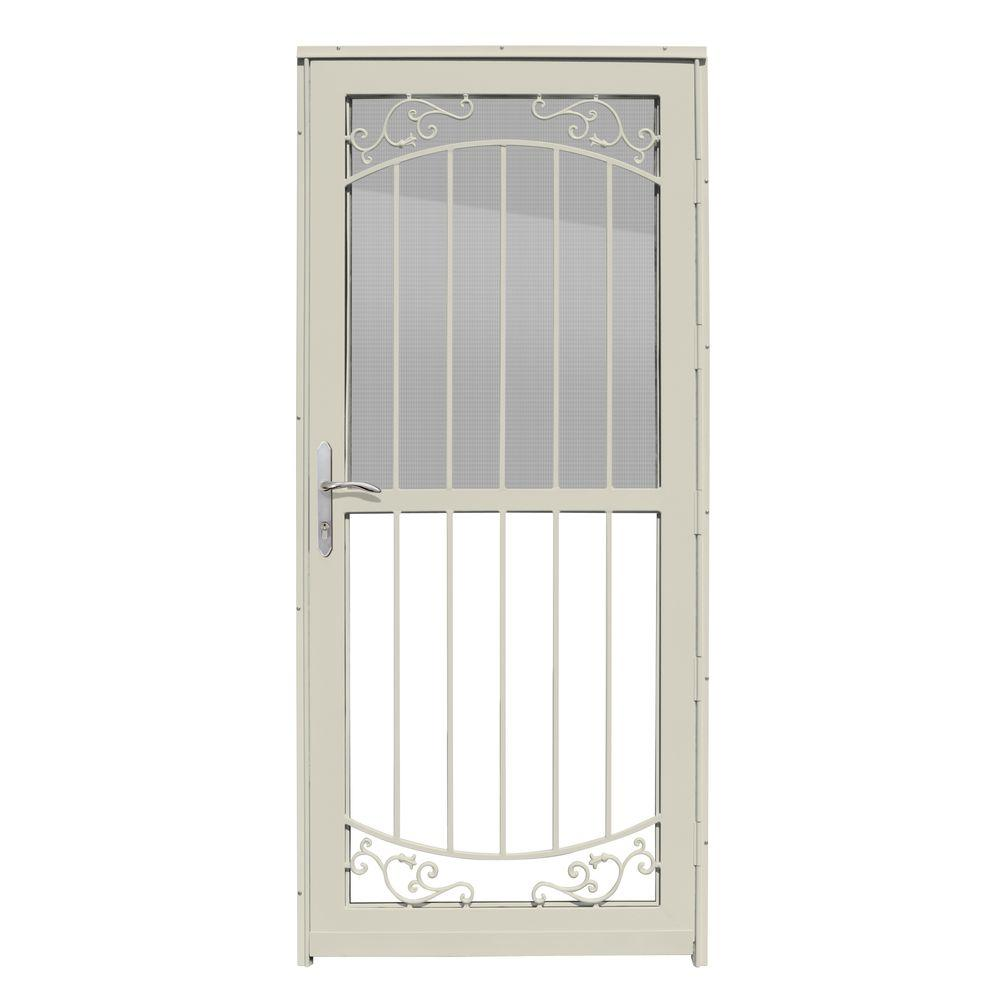 Unique Home Designs 32 in. x 80 in. Waterford Almond Recessed Mount All  Season Security Door with Self-Storing Glass and Screen
