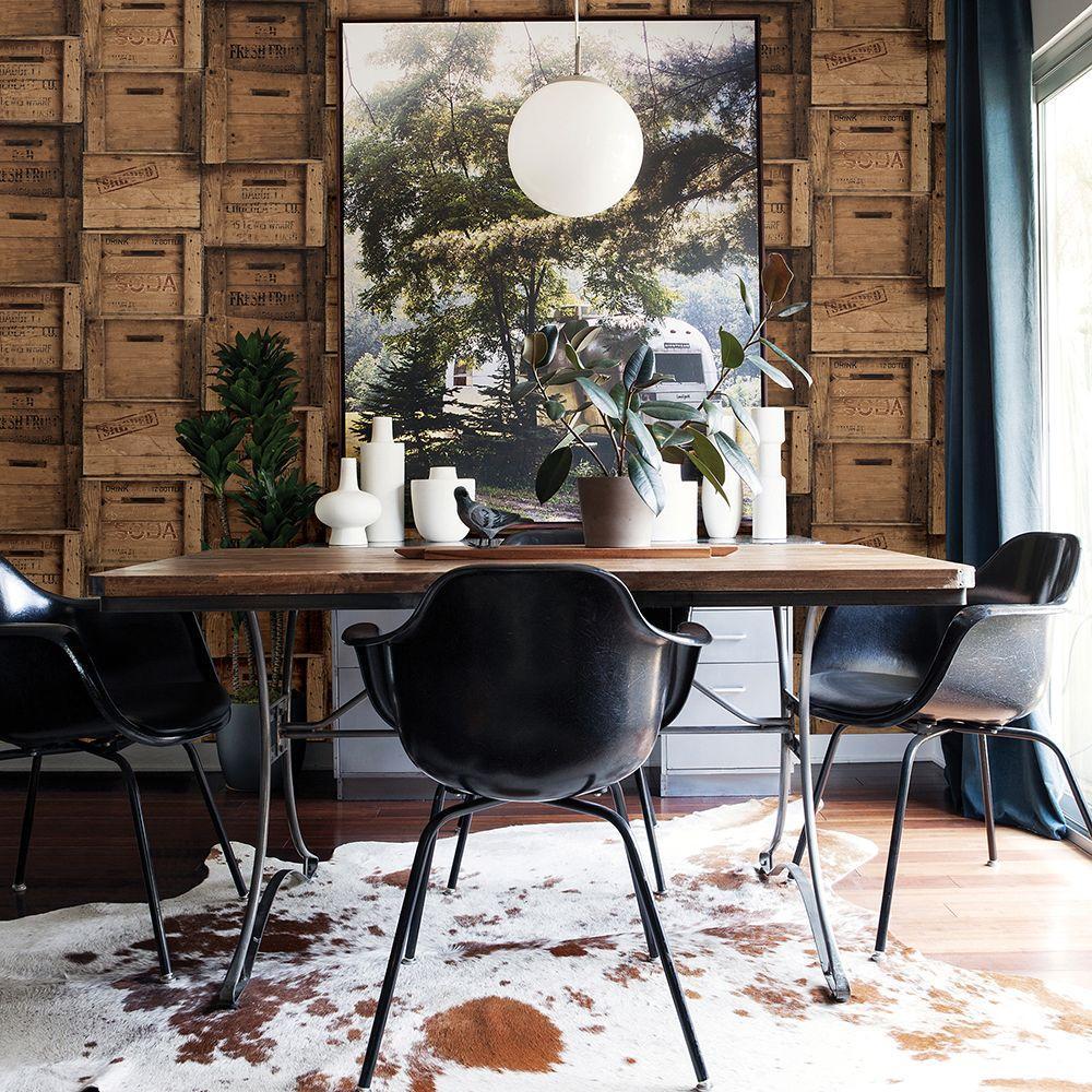 Brown Wood Crates Distressed Wallpaper