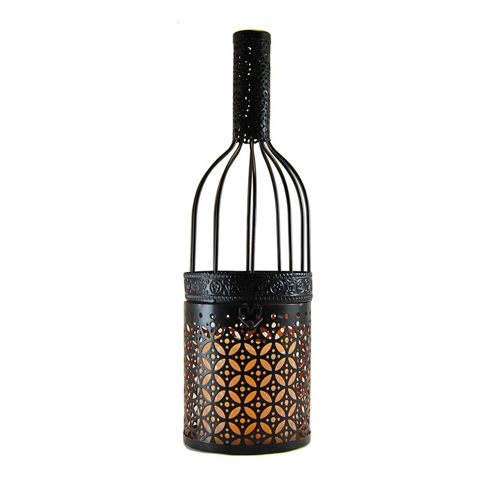 Metal Lantern - Black Wine Bottle with Battery Operated Candle