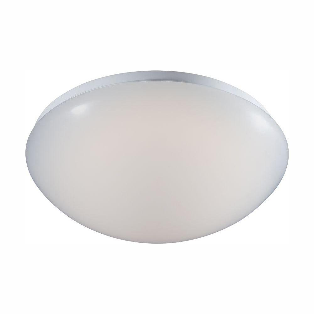 COMMERCIALELECTRIC Commercial Electric 11 in. Low-Profile White Integrated LED Round Puff Flush Mount