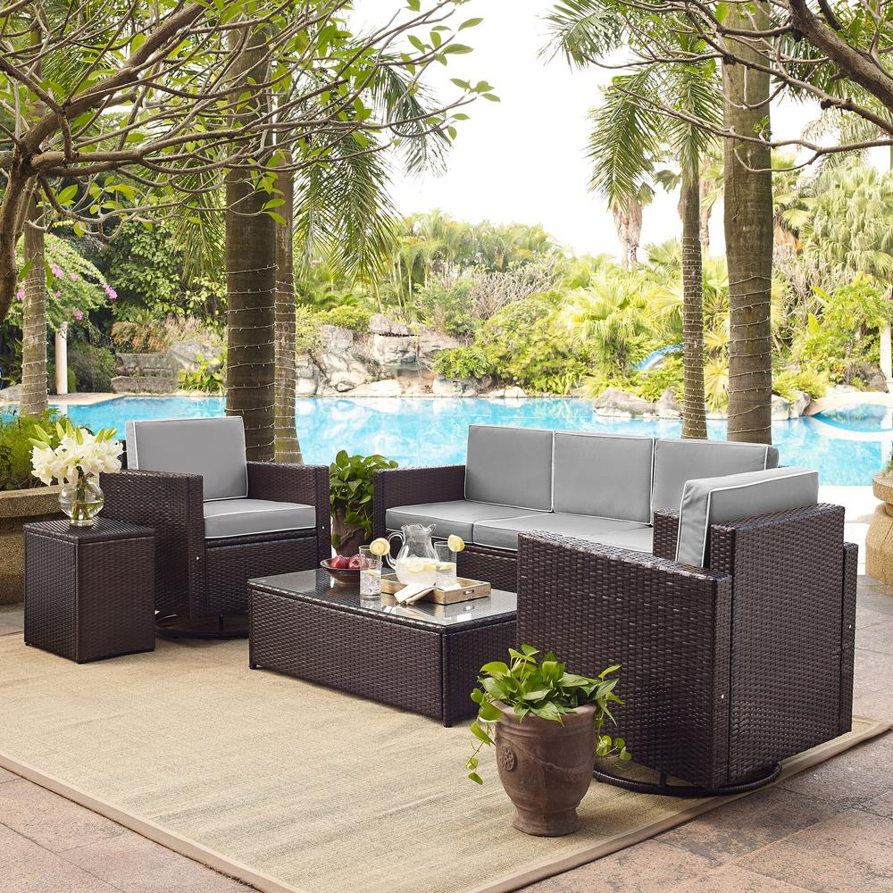 Crosley Palm Harbor 5-Piece Wicker Outdoor Conversation Set with Grey Cushions