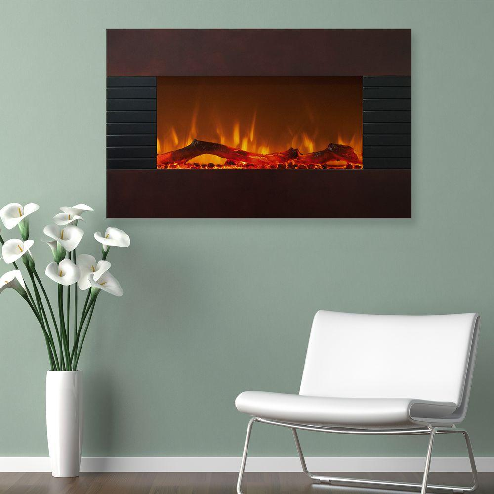 Electric Fireplace With Wall Mount And Floor Stand In Mahogany