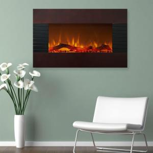 Northwest 36 inch Electric Fireplace with Wall Mount and Floor Stand in Mahogany by Northwest