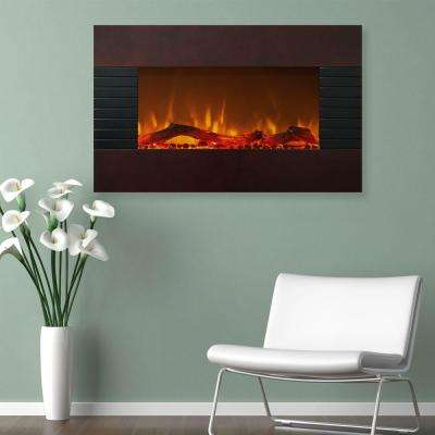 36 in. Electric Fireplace with Wall Mount and Floor Stand in Mahogany