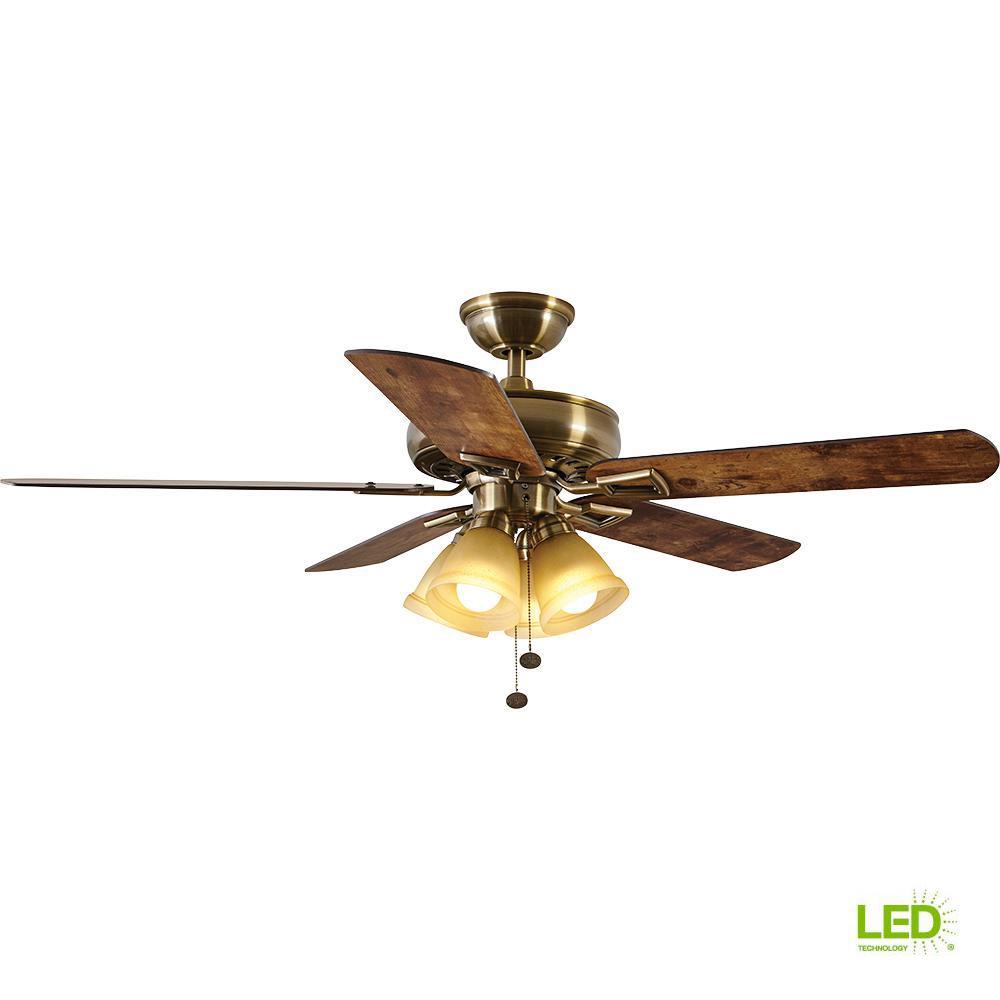 Hampton Bay Lyndhurst 52 in. LED Antique Brass Ceiling Fan with ...