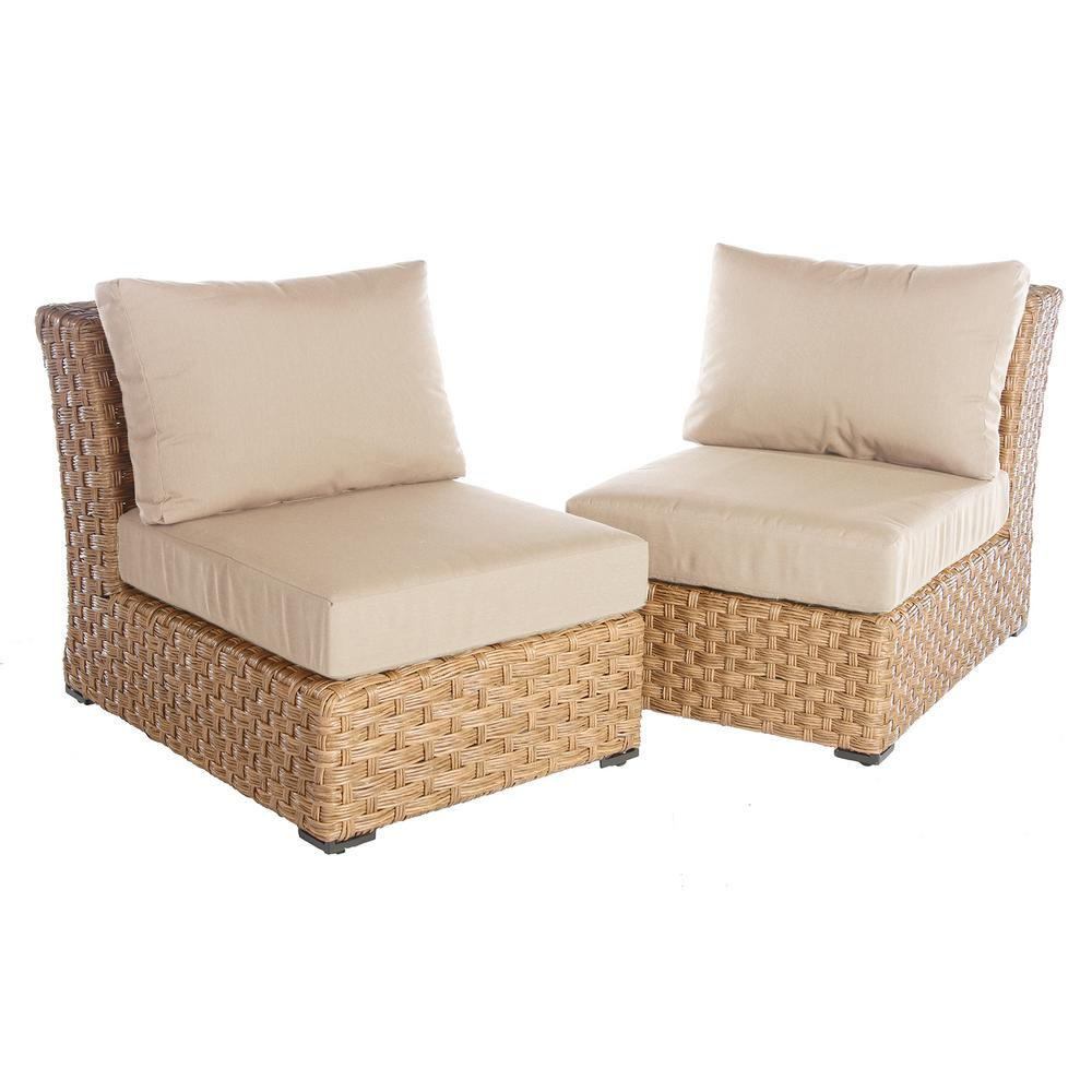Ae Outdoor Elizabeth 2 Piece Wicker Patio Seating Set With Cast Ash Cushions