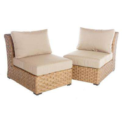 Elizabeth 2-Piece Wicker Patio Seating Set with Cast-Ash Cushions