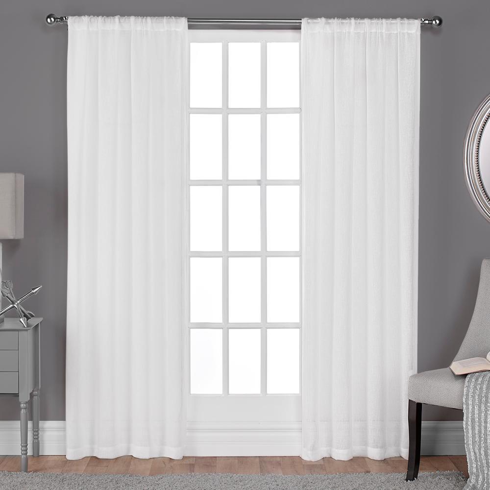 Belgian Winter White Textured Linen Look Jacquard Sheer Rod Pocket Top Window...