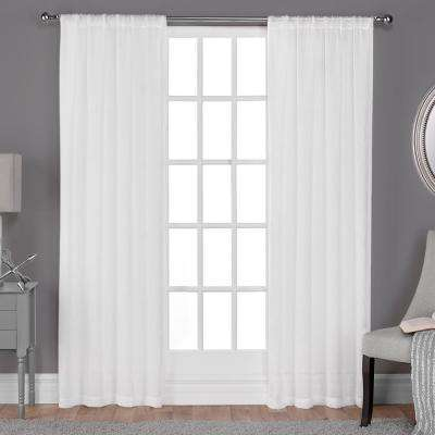 Belgian 50 in. W x 108 in. L Sheer Rod Pocket Top Curtain Panel in Winter White (2 Panels)