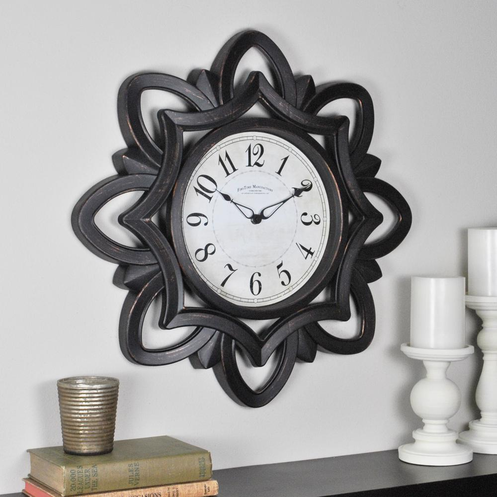 FirsTime FirsTime 20 in. Rosette Wall Clock, Bronze