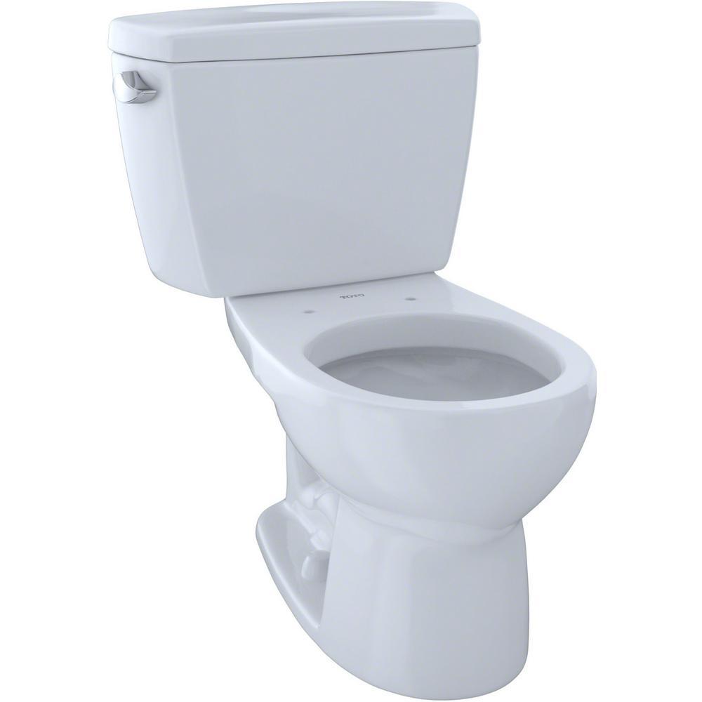 Eco Drake 2-Piece 1.28 GPF Single Flush Round Toilet in Cotton White
