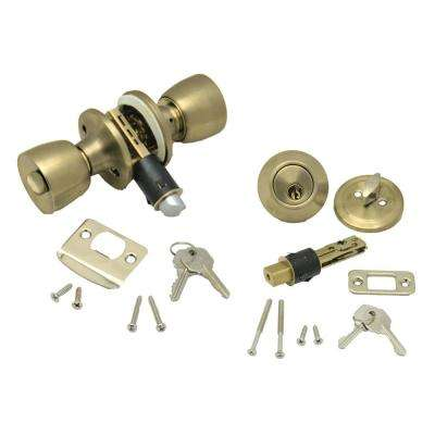Combo Lock Set with Knob Lock and Dead Bolt in Polished Brass