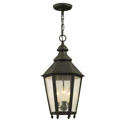 Savannah 12 in. W Vintage Iron Outdoor 3-Light Hanging Light with Clear Seeded Glass