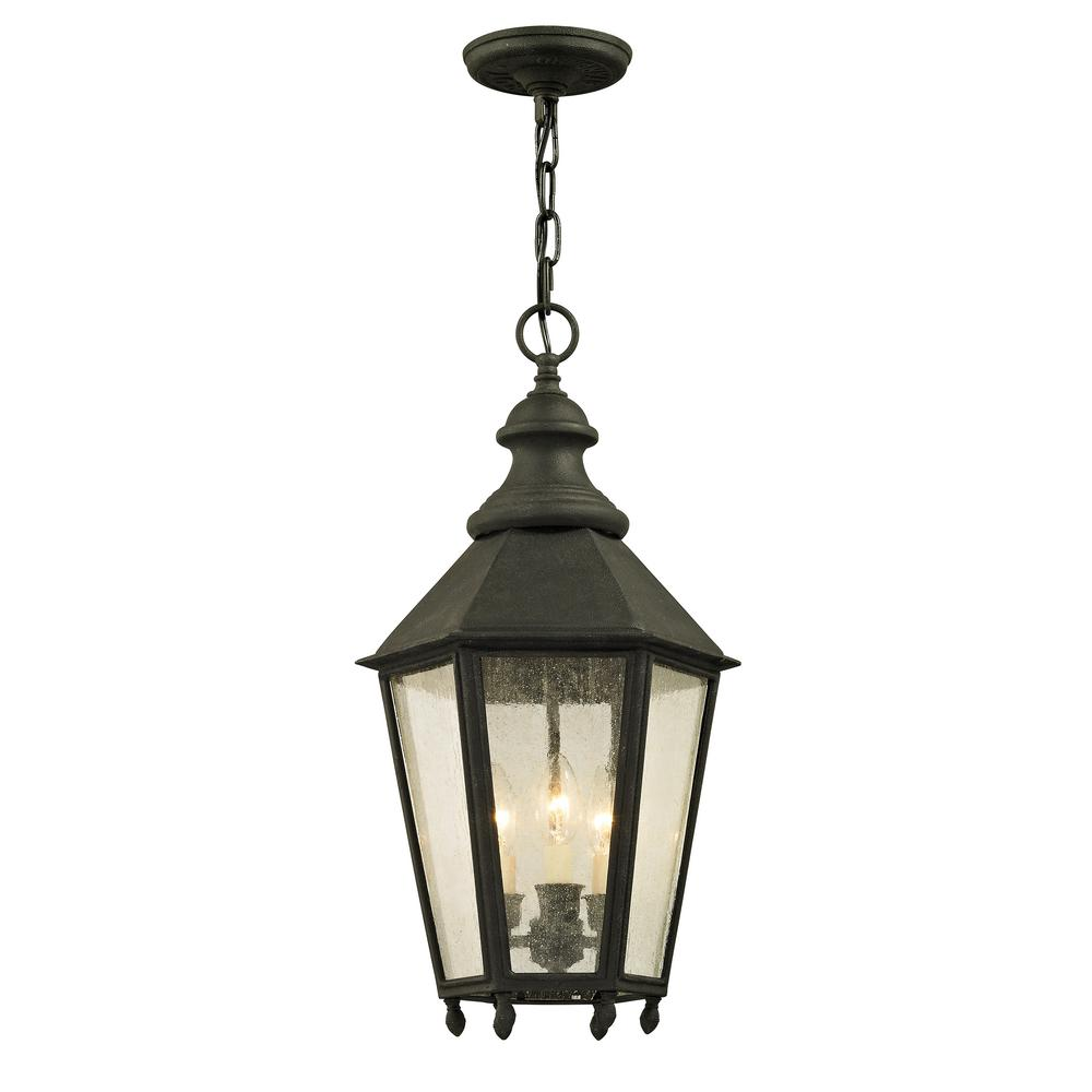 Troy Lighting Savannah 12 in. W Vintage Iron Outdoor 3-Light Hanging Light with Clear Seeded Glass