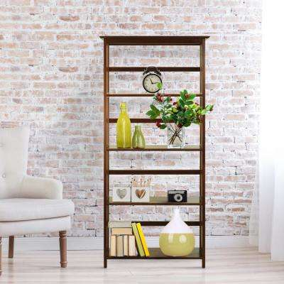 Mission Style Walnut Solid Wood 5-Shelf Bookcase