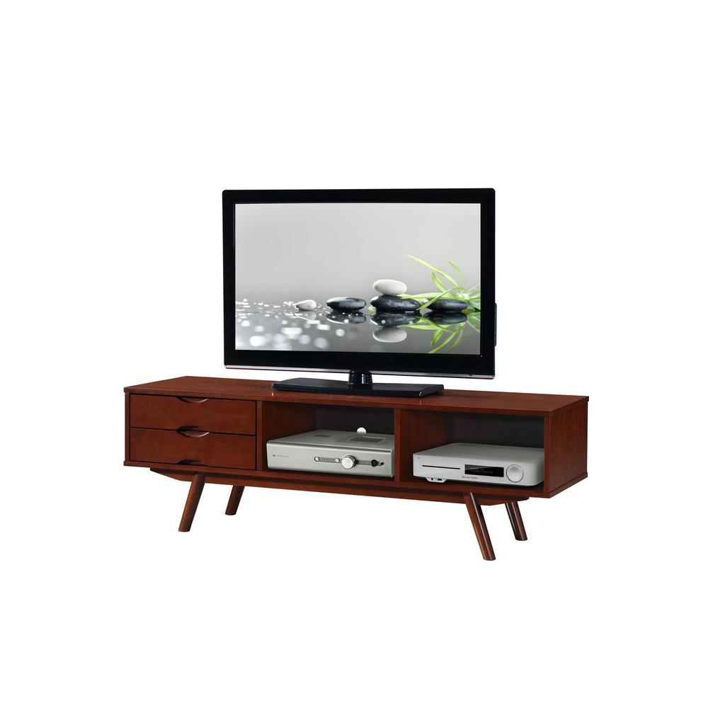Walnut Elegant Wood Veneer 65 in. TV Stand with Storage