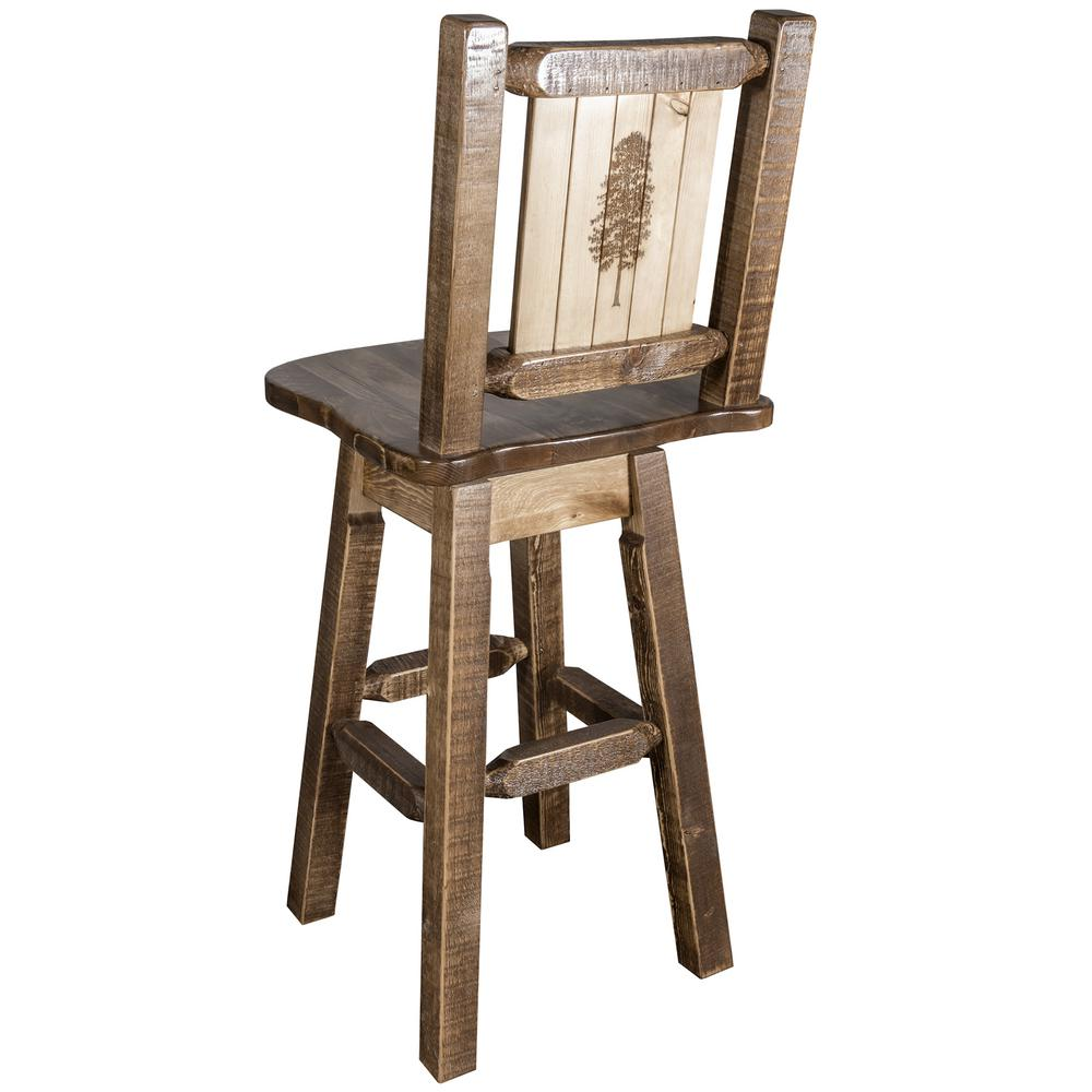 Homestead Collection 30 in. Early American Laser Engraved Pine Tree Motif Bar Stool with Swivel Seat and Back